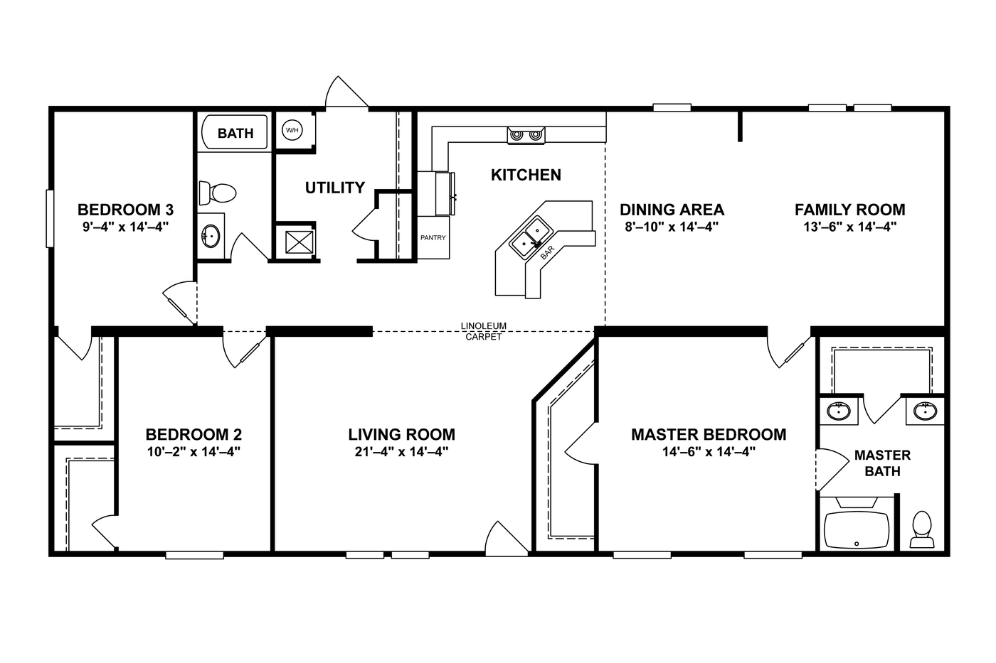 14×70 Mobile Home Floor Plan 3 bedroom 2 bath mobile home. cavco homes double wides homes